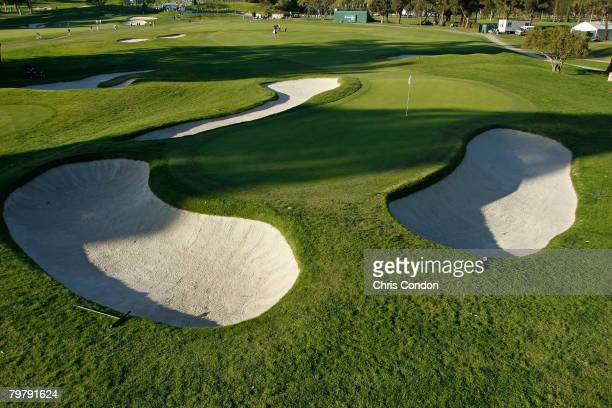 Scenic view of the well-protected 10th green during the second round of the Northern Trust Open held on February 15, 2008 at Riviera Country Club in...