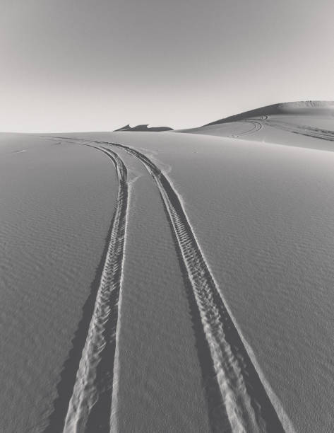 Scenic view of tire tracks on a sand dunes against clear sky