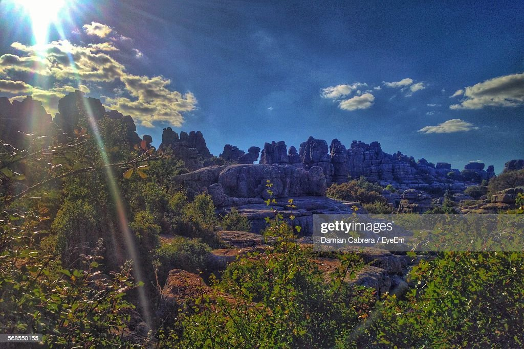 Scenic View Of Torcal De Antequera Against Sky : Stock Photo
