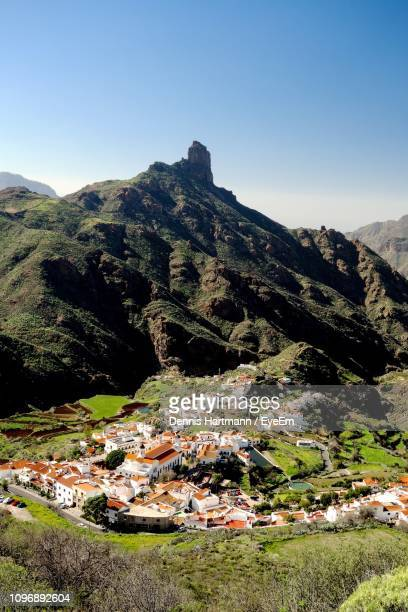 scenic view of townscape against clear sky - tejeda canary islands stock pictures, royalty-free photos & images