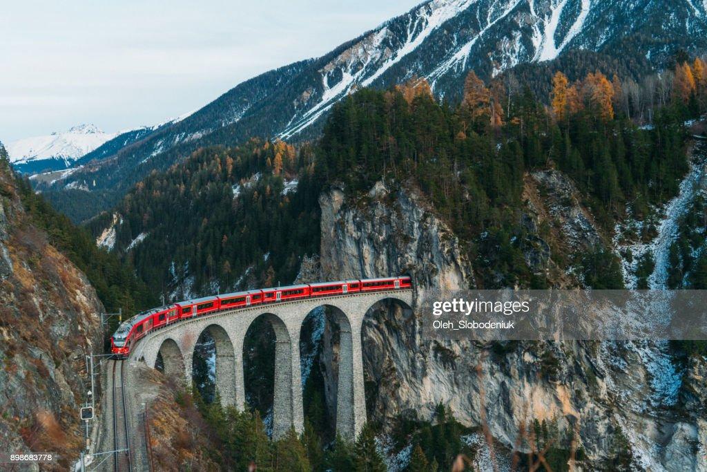 Scenic  view of train on  Landwasser viaduct in Switzerland : Stock Photo
