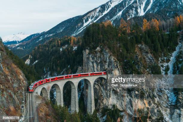 Scenic  view of train on  Landwasser viaduct in Switzerland