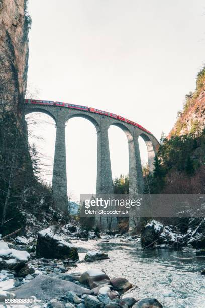 Scenic  view of train on  Landwasser viaduct in Switzerland