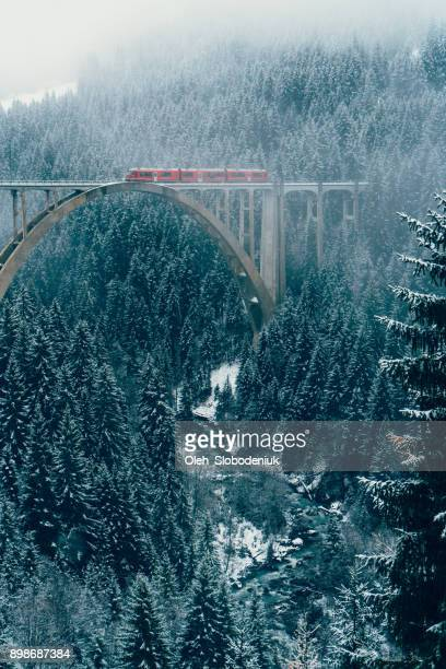 scenic view of train on viaduct in switzerland - mere noel stock pictures, royalty-free photos & images