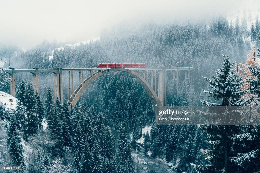 Scenic view of train on viaduct in Switzerland : Stock Photo