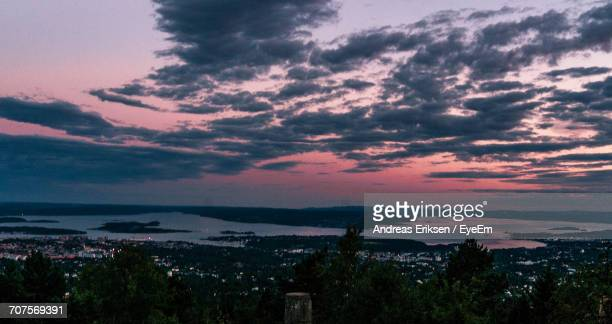 scenic view of trees against romantic sky at sunset - eriksen foto e immagini stock