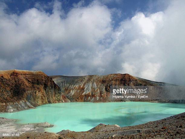 Scenic View Of Turquoise Lake At Mt Kusatsu-Shirane
