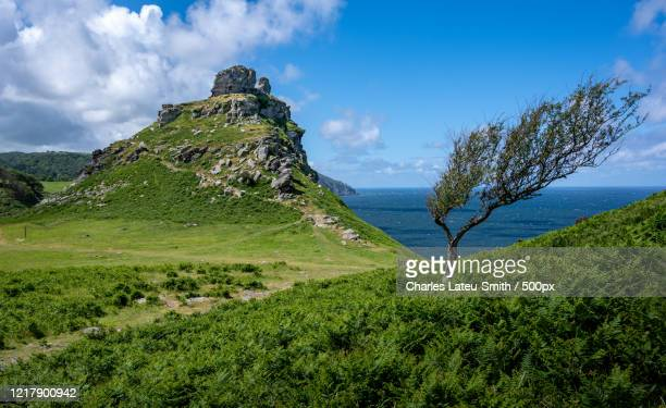 scenic view of valley of the rocks on sunny day, uk - exmoor national park 個照片及圖片檔