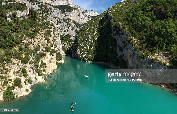 Scenic View Of Verdon Gorge By Mountains