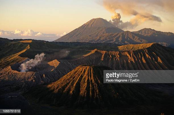 scenic view of volcanic crater at bromo-tengger-semeru national park - tengger stock pictures, royalty-free photos & images