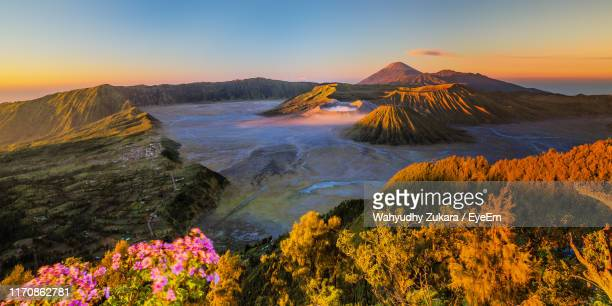 scenic view of volcanic crater during sunset - east java province stock pictures, royalty-free photos & images
