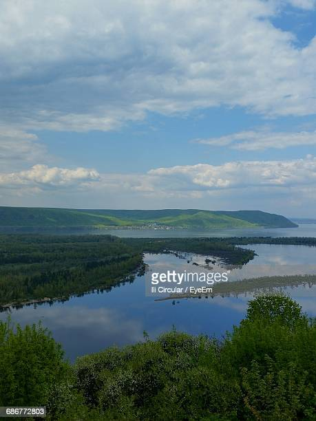 scenic view of volga river against cloudy sky - volga stock pictures, royalty-free photos & images