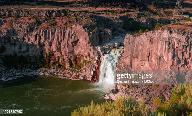 scenic view of waterfall, idaho falls, united states - idaho falls stock pictures, royalty-free photos & images