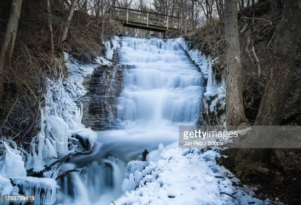 scenic view of waterfall in forest during winter, vibble, sweden - ruscello foto e immagini stock