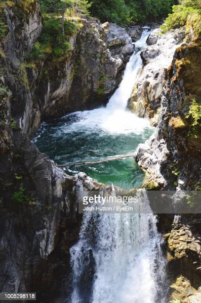 scenic view of waterfall in forest - hutton stock photos and pictures