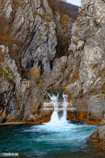 scenic view of waterfall in forest - krasimir georgiev stock photos and pictures