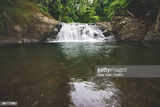scenic view of waterfall in forest - apia stock photos and pictures
