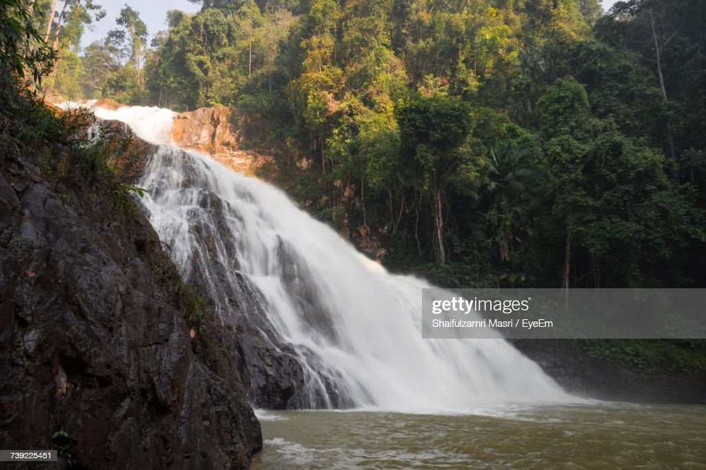 Scenic View Of Waterfall In Forest : Stock Photo