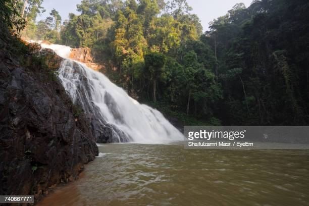 scenic view of waterfall in forest - shaifulzamri stock pictures, royalty-free photos & images