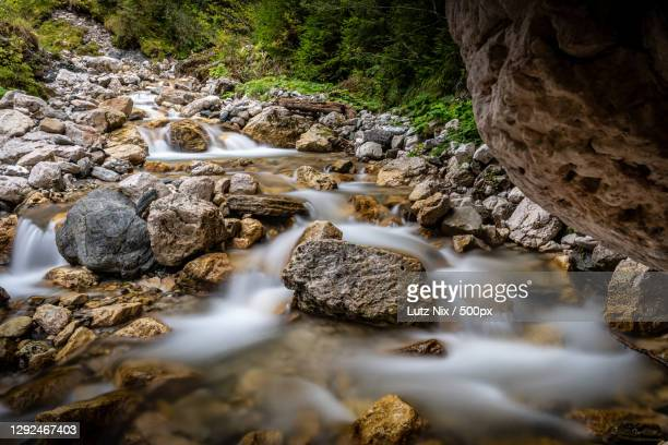 scenic view of waterfall in forest,olang,italy - ヴァルダーオラ ストックフォトと画像