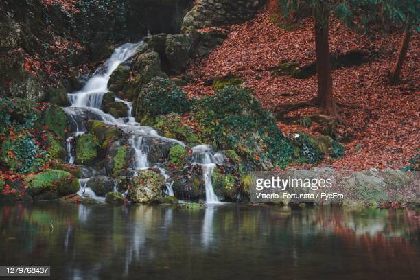 scenic view of waterfall in monza city park - monza stock pictures, royalty-free photos & images