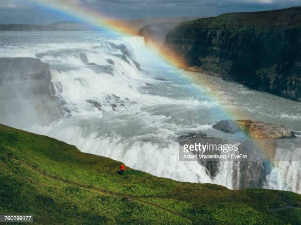 scenic view of waterfall on mountain - selfoss stock photos and pictures