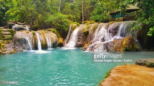 scenic view of waterfall - davao city stock photos and pictures