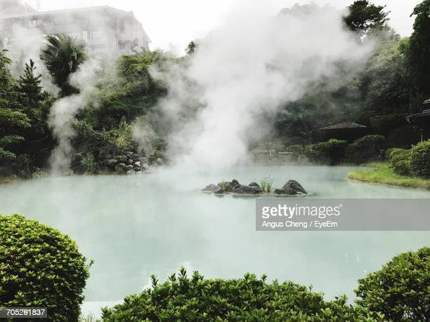 scenic view of waterfall - 別府市 ストックフォトと画像