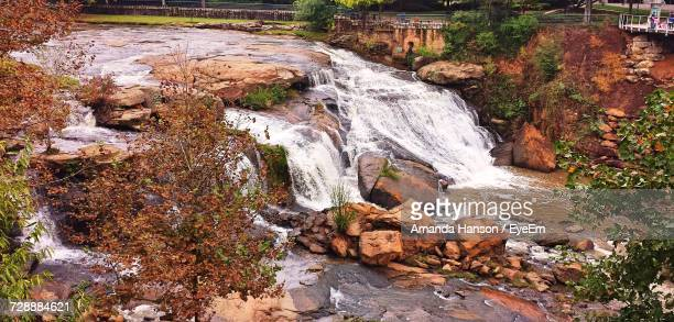 scenic view of waterfall - greenville south carolina stock photos and pictures