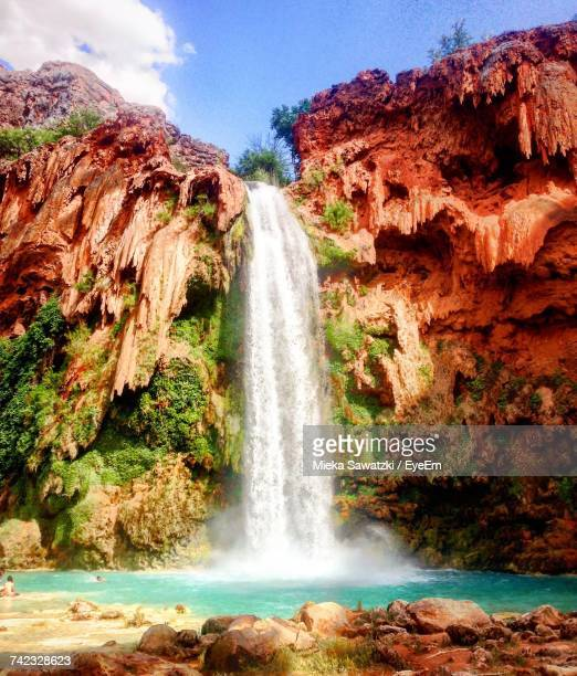 scenic view of waterfall - grand canyon village stock photos and pictures