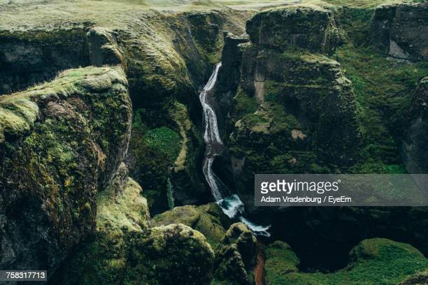 scenic view of waterfall - selfoss stock photos and pictures