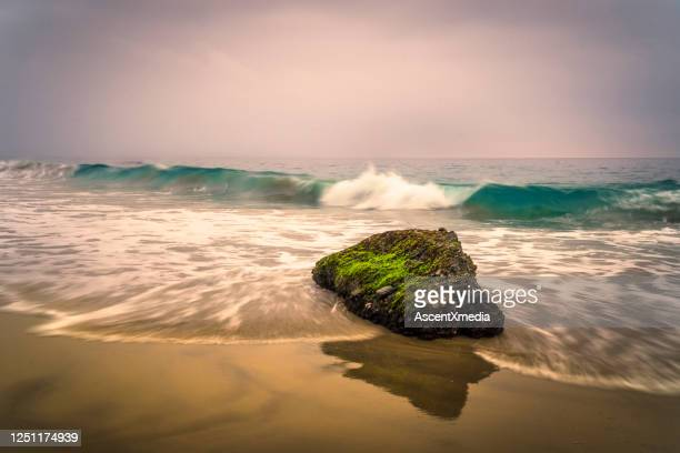 scenic view of waves crashing on sandy beach - dramatic landscape stock pictures, royalty-free photos & images