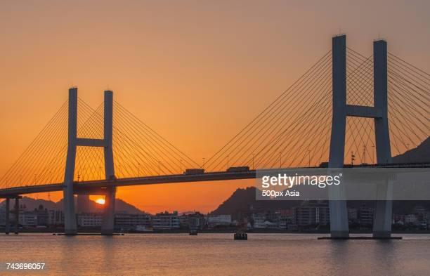 Scenic view of Wenzhou Bridge over Oujiang River, Wenzhou, Zhejiang, China