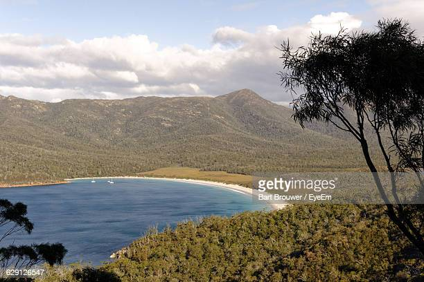 Scenic View Of Wineglass Bay Against Sky