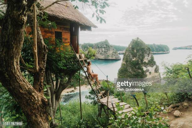 scenic view of woman near the  tree house near the sea on nusa penida - tree house stock pictures, royalty-free photos & images