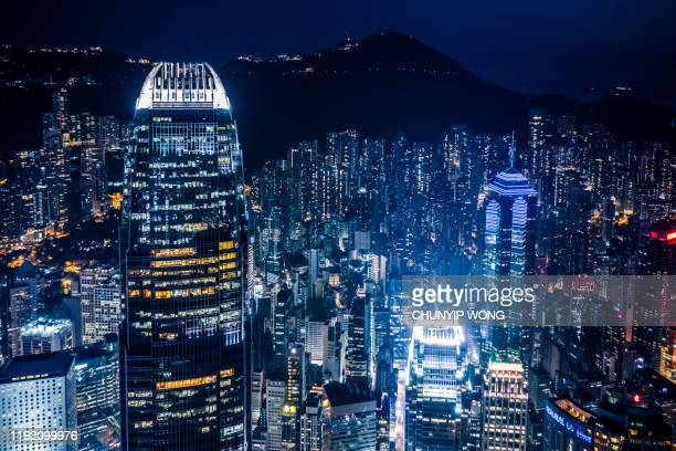 scenic view on hong kong island, china, by night - central stock pictures, royalty-free photos & images