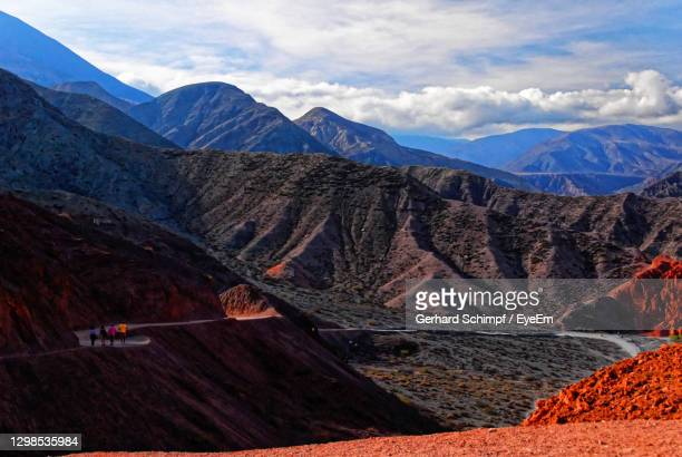 scenic view on painted landscape near purmamarca argentina - gerhard schimpf stock pictures, royalty-free photos & images
