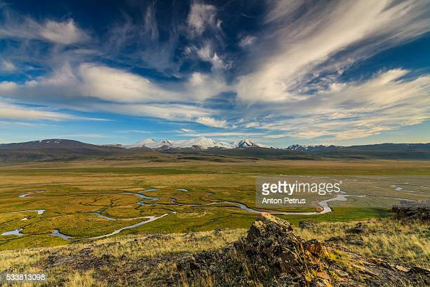Scenic view on the Ukok Plateau. Altai mountains.