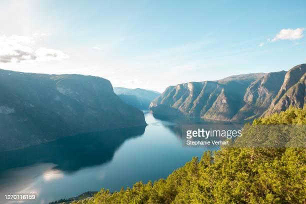 ノルウェーのフィヨルド・ゲイルガンゲルフィヨルドの景色 - ローガラン県 ストックフォトと画像