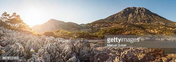 scenic view, pagondas, samos, greece - samos stock photos and pictures