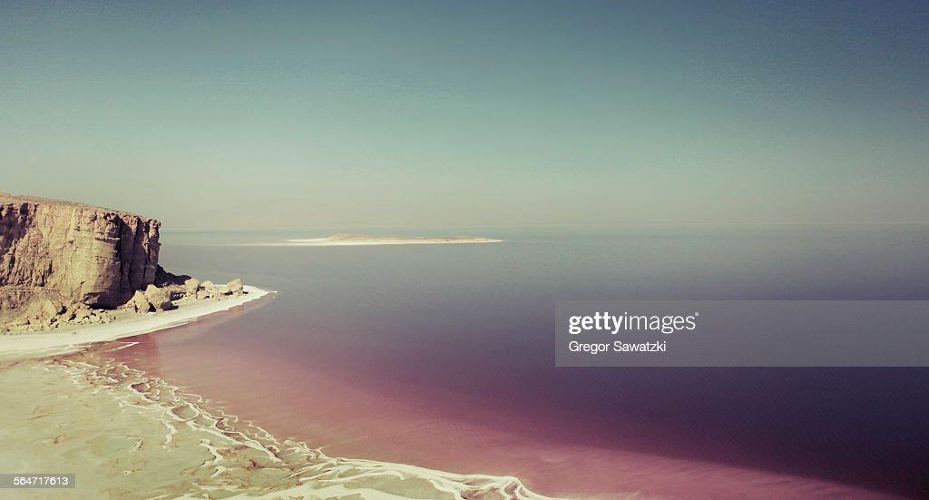 Scenic view Urmia lake against clear sky, Iran : Stock Photo