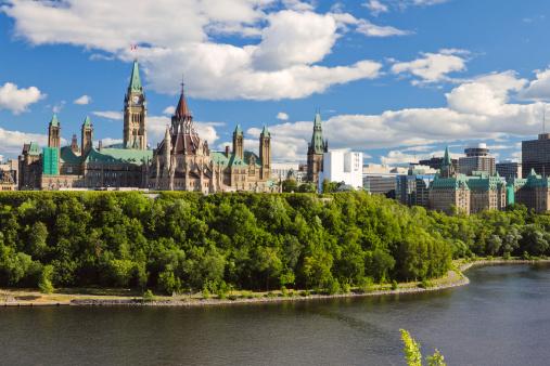 Scenic water view of Parliament Hill Ottawa Ontario Canada 147454466
