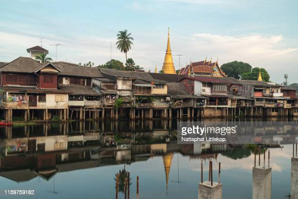 scenic waterfront and old town building city landmark in chanthaburi, thailand. - chanthaburi sea stock pictures, royalty-free photos & images