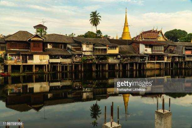 scenic waterfront and old town building city landmark in chanthaburi, thailand. - chanthaburi stock pictures, royalty-free photos & images