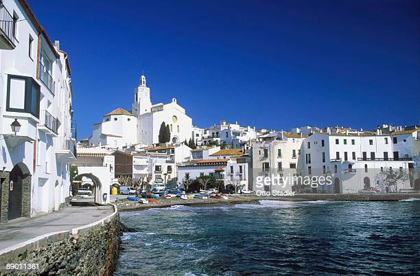scenic waterfront buildings, cadaques, catalonia, spain - cadaques stock pictures, royalty-free photos & images