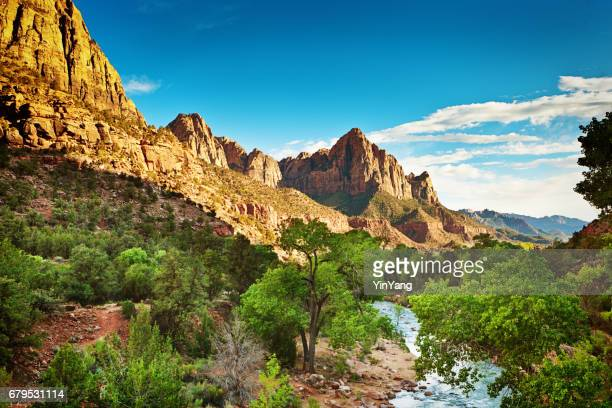Scenic Zion National Park Landscape with River and Mountain