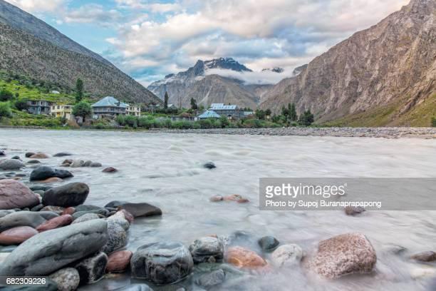 Scenics of himalaya range and Bhag river in jispa ,Himachal Pradesh,india