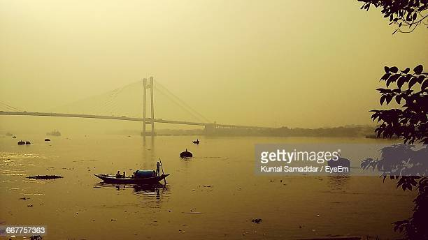 Scenics View Of Vidyasagar Setu Over Hooghly River During Sunset