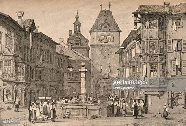 Schaffhausen' c1830 Schaffhausen is a city in northern Switzerland the old town has many Renaissance era buildings decorated with exterior frescos...
