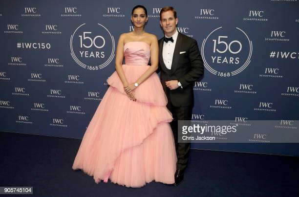 Schaffhausen CEO Christoph GraingerHerr and Sonam Kapoor attend the IWC Schaffhausen Gala celebrating the Maison's 150th anniversary and the launch...